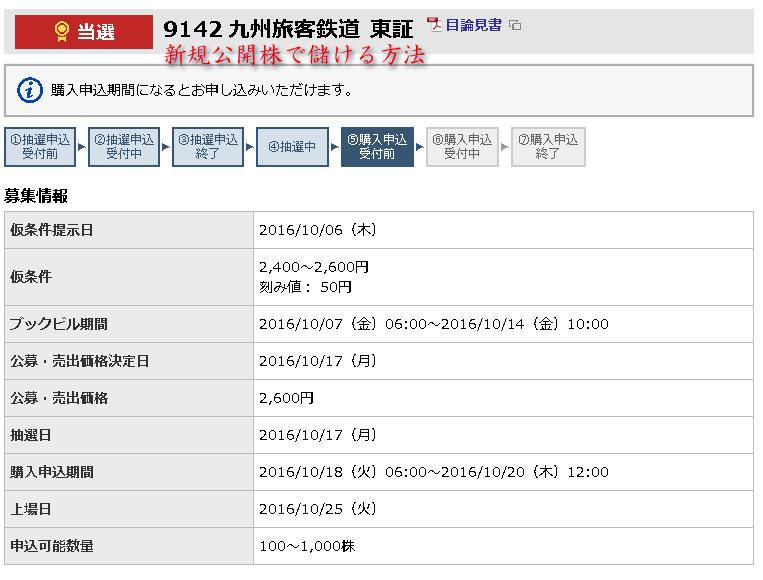 JR九州東海東京証券当選