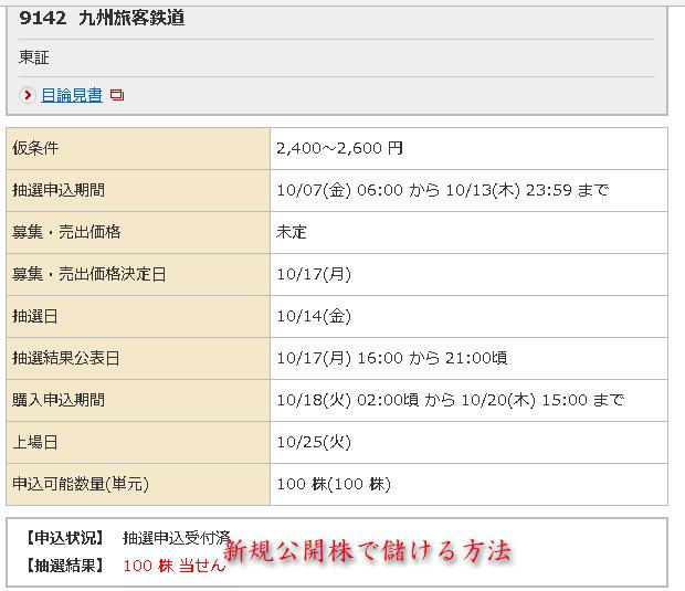 JR九州野村証券当選